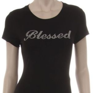Tops - Blessed Tshirt Black Top Bling Rhinestone Slim Fit